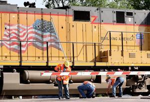 Crews repair broken rail at Broadwell crossing