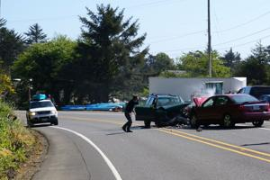 <p>Four people were hurt Saturday afternoon in this head-on crash on Highway 101, just north of the Bay House.</p>