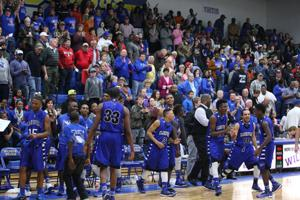<p>The Clarksville Blue Tigers and their fans celebrate their Class 2A Region II quarterfinal win over Bland on Tuesday at Sulphur Springs High School. The Tigers play in the regional semifinals on Friday.</p>