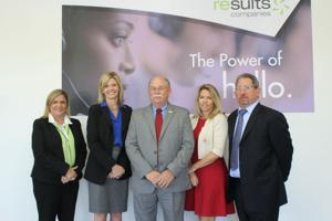 <p>From left, Results Companies site director Samantha Boots, senior vice president of account operations Paula Feit, PJC director of workforce education John Spradling, Results chief experience officer Lori Brown and Results president and CEO Alec Brecker.</p>