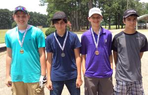 <p>Bradley Coursey of Idabel, Nicholas White of Idabel, Coleman Lewis of Paris and Carson Dollarhide of Idabel placed first through fourth in the 13-14 Boys division.</p>