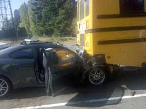 SCHOOL BUS REAR ENDED