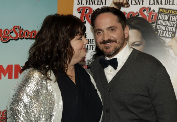 Actress Melissa McCarthy on left with Husband Ben Falcone on right