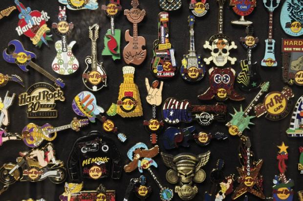 Closer look at the hard rock café pin collection