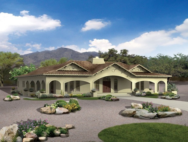 Four bedroom in spanish revival style home and garden for Square feet ap style