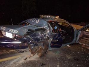 State police cruiser hit