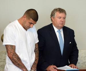 Aaron Hernandez and lawyer Michael Fee