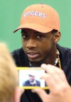 Mike Williams talks to reporters