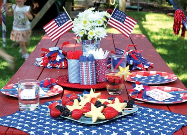Detail Of A Colorful Table Setting With Fourth Of July