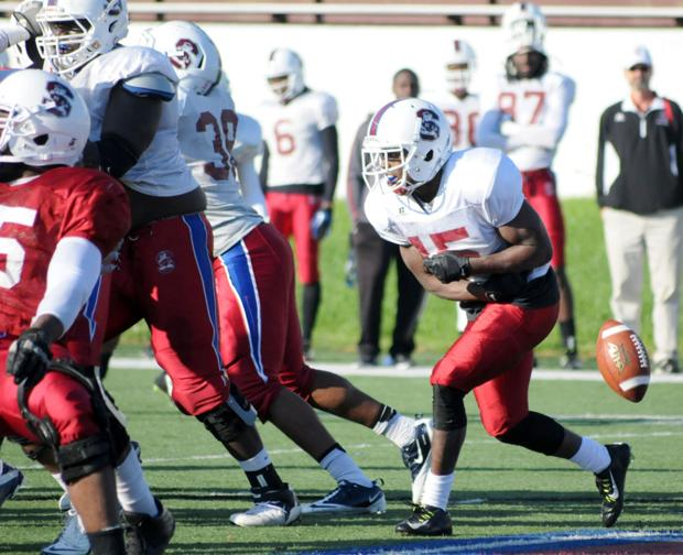 A PLEASED BULLDOG: Pough happy with progress after scrimmage
