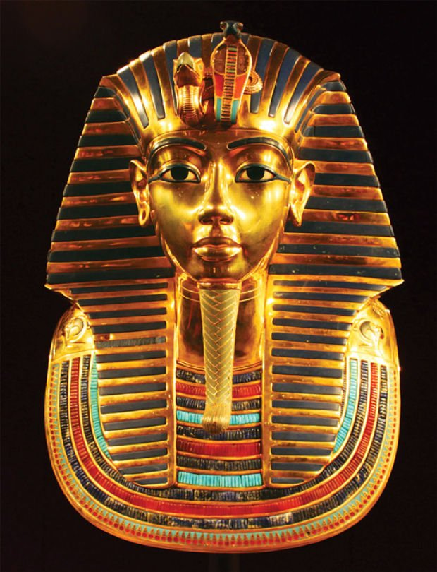 Display recalling King Tut s Funerary Mask Of Tutankhamun