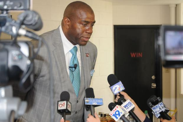 'Magic' Johnson mixes basketball with business during S.C. State visit
