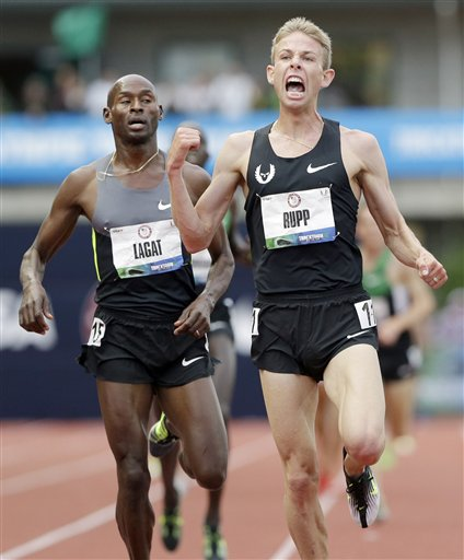 Eric Gay. Galen Rupp celebrates after finishing first in the men's 5,000 ...