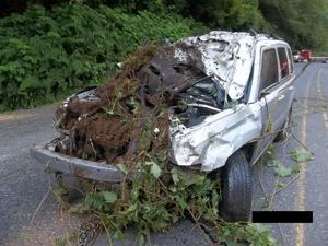 Car after being pulled from Wilson River