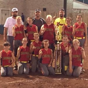 """<p class=""""p1"""">Xtreme 03 won the USSSA open state tournament championship in the 12-and-under division. The squad is based in DeKalb County. Team members are front row, from left, Gracey Johnson, Geraldine; Shelby Trester, Geraldine; Macy Reedy, Spring Garden; Maddie Smith, Hokes Bluff; Emma Terrell, Fort Payne; and Abbey Stewart, Spring Garden; middle row, from left, Kayley Kirk, Spring Garden; Chloe Murdock, Geraldine; Elaine Puckett, Rainsville; Alexis Powell, Geraldine; and Hadley Hamilton, Crossville; back row, from left, assistant coach Rodney Hamilton, head coach Kevin Johnson and assistant coach Joel Murdock. Not pictured is assistant coach Bruce Norris.</p>"""