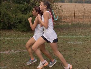 <p>Evelin Deleon and Halle Smith run neck and neck during the state meet Saturday.</p>