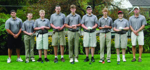 <p>The 2014 Coudersport Golf team began play Aug. 22, hosting Port Allegany at the Coudersport Country Club and defeating the Gators 40-15. Pictured (L - R) are coach Dan Marzo, Braeden Dover, Connor Newton, manager, Greg Heasley, J.T. Maynard, Kent Wilkinson, Chance Ramsey, Noah Delp and coach John Sherry. </p><div> </div>