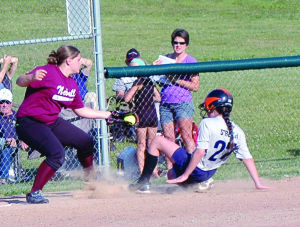 <p>Chelsey Streich slides in under the tag Friday night in game one to tie the score 2-2 in the bottom of the first inning. Potter/McKean rallied from a 7-4 deficit to win 8-7 and force a tie-breaker game. </p><div> </div>