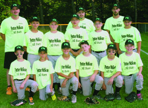 "<p>Potter/Mckean Gray defeated Southern Tioga on July 6 in Port Allegany to advance to the quarter final round in the loser bracket of the Joe Shaw Memorial Tournament. The 2014 Gray All-Stars are (front, L - R) Joey Schwenk, Kai Stauffer, Drew Benson, Logan Peasock, Drew Evens, River Cramer (middle, L - R) Carter Moses, Ty Guilds, Derek Kallenborn, Jacob Pritt and Levi Boucher. The coaches are Jack Klawhun, Gary ""Binky"" Peasock and Josh Carlson. Potter/McKean Gray is one of two Potter/McKean teams in the 9-10 year old age group. </p>"