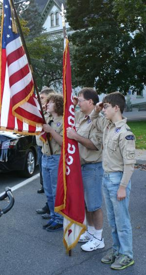 <p>Members of Boy Scout Troop 536, based in Coudersport, along with Scout leader David Johnson (second from right), were on hand Thursday afternoon to welcome the return of a Korean War veteran and Potter County native to Coudersport after more than six decades. 1st Lt. William Turner lost his life in a plane crash in Alaska in 1952 and his remains were recovered recently after pilots of an Alaska Air National Guard helicopter spotted wreckage on the Colony Glacier. Turner was a 1946 graduate of Coudersport High School and served in the Navy and Air Force from 1946 until his death in 1952.</p><div> </div>