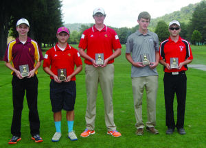 <p>The top five individual 18 hole scores received awards August 21 at the Coudersport Country Club in the first annual Coudersport boys invitational golf tournament. Picture (L - R) are Drew Meyer, 5th place, with a score of 83, Elk County Catholic; Mitch Faulkner, 4th place,  83, Bradford High; Evan Piganelli, 3rd place, 81, Bradford High; J.T. Maynard, 2nd place, 80, Coudersport; and winner; Paul Etchepare; 76; Cameron County.</p><div> </div>