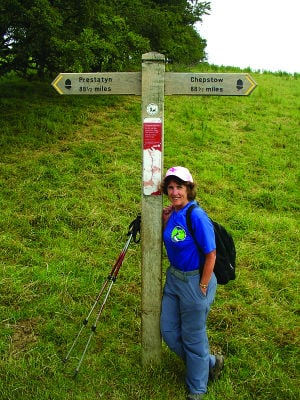 <p>Halfway point:  The sign post points north 88.5 miles to Prestatyn and south 88.5 miles to Chepstow, the northern and southern terminus of the Offa's Dyke National Path.  The upside-down acorn on each end of the sign is the symbol used to mark trail for all national paths in the UK. </p><div> </div>