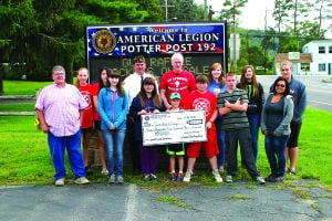 "<p><span>American Legion Post 192 in Coudersport recently donated $3,500 to be used to send local youth to a four-day camp at His Thousand Hills near Wellsboro. This is the third year the Legion has donated to the trip, which is sponsored by the Sweden Valley United Methodist Church. This summer, 18 people, including kids and counselors, were able to go. In addition to the donation from the American Legion, money is raised with various fundraisers and the church budgets some money for the trip. Gathering at the American Legion for the check presentation last Saturday was (front, L - R) Allen Faulstick, youth counselor; Breanna Sallade; Micaela Haskins; Corben Sallade; Preston Cobb; John Watson; Michelle Haskins, youth counselor; (back, L - R) Dana Dubots; Morgan Jones; Legion Commander John Orlowski; Steve Watson, youth counselor; Carlie Watson; Liz Heller; and Lanie Cobb. ""I don't know how to express my gratitude for these guys,"" said Watson, who has been a youth leader with the Sweden Valley United Methodist youth group for about 10 years. ""Every year, the Legion asks us how much we need and they give us however much we're short. It's a great thing they're doing for us."" </span></p><div><span> </span></div>"
