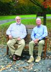 "Dr. Peter Ryan, his wife Debbie, and their family recently donated a bench to be placed in the Coudersport Arboretum in honor of Judge John Leete. Ryan (at right in photo, with Leete) said the plaque affixed to the bench sums up quite well the appreciation he and his family have for the judge's 'many years of compassionate leadership and dedicated service.' Leete served as president judge for Potter County for 22 years before retiring in 2010. He is actively involved in civic and charitable organizations, including the Yellow Ribbon Suicide Prevention chapter and Rotary Club, to name just two. ""We've been personal and professional friends for a long time,"" said Ryan, ""and my family and I hold the judge in high esteem."""