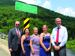 <p>Gathering on the newly-named bridge at the dedication ceremony were (L - R) Rep. Martin Causer, Michelle Drury, Linda Cox, Patti Good and Rep Matthew Baker. </p><div> </div>