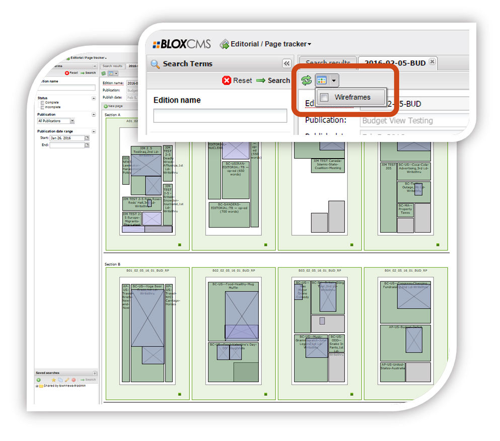 BLOX Total CMS: Wireframe view