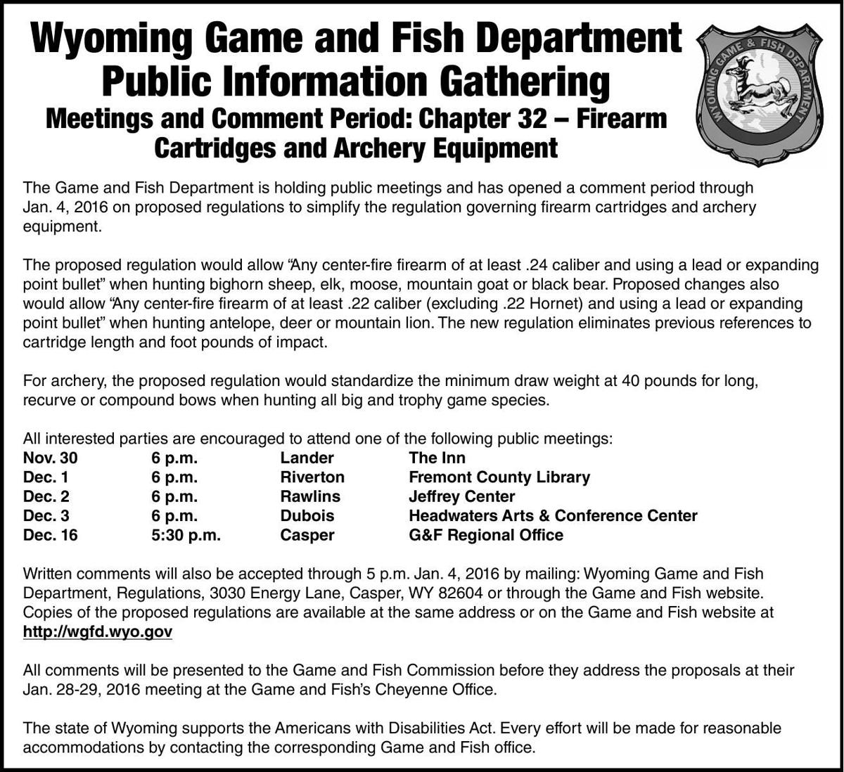 Fred m eiserman obituaries for Wyoming game and fish