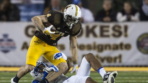 Wyoming wideout tanner gentry basks in the silence of first touchdown