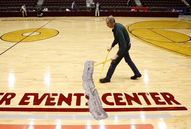 Events center worker sweeps to fame casper for Homemade basketball court