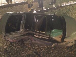 Mother, toddler stable after train collides with car