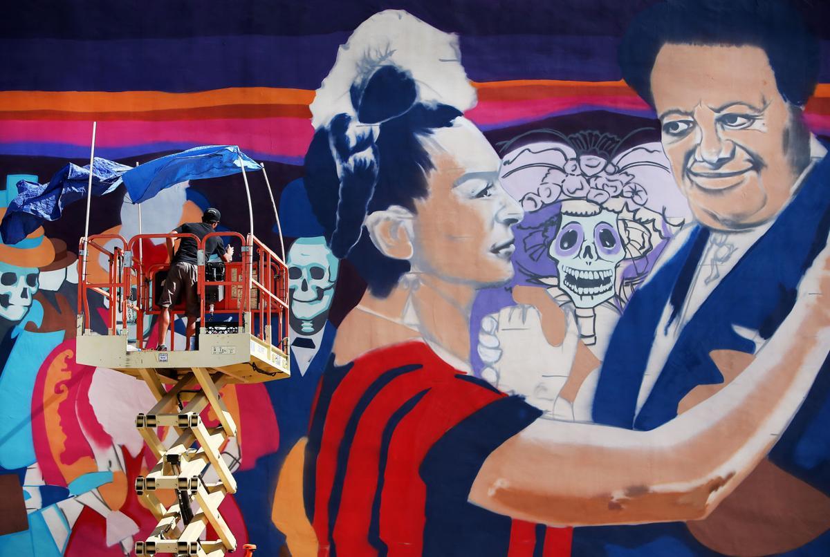Dia de los muerto mural nearly complete for Dia de los muertos mural