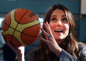Photos: Pregnant Kate Middleton shoots hoops in heels