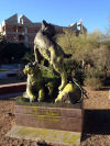 UA Mall's 'Wildcat Family' sculpture spray painted yellow