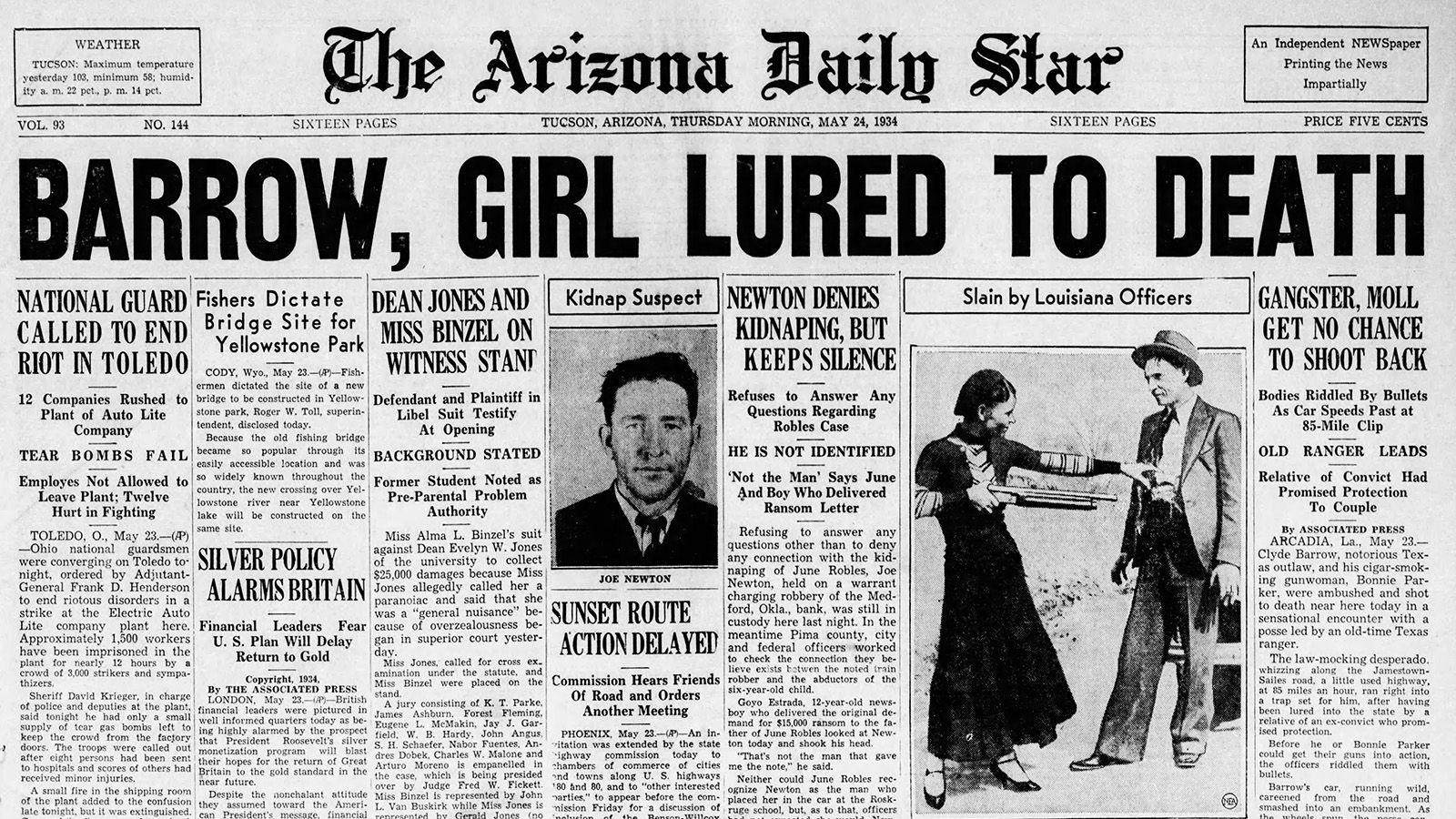 Arizona Daily Star Front Page May 24 1934