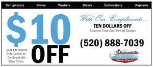 Summer is here!  Save $10 With our Summer Time Cool Savings Coupon - Dependable Refrigeration LLC call today 520-888-7039