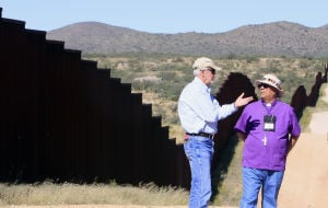 Photo: Bishop Guerra visits border