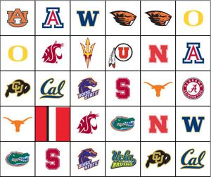 Matching game: College football logos