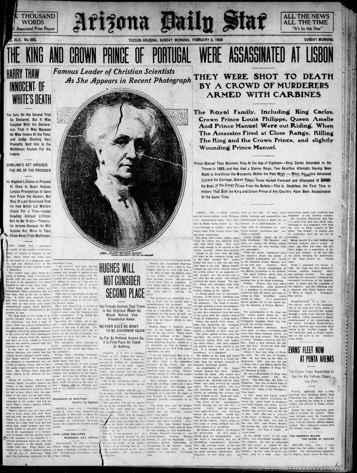 historical feb arizona daily star front pages tales from the arizona daily star front page feb 2 1908