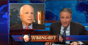"Daily Show challenges McCain to a ""wrong-off"""