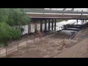 Rillito River gushes with rainfall