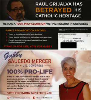 GOP candidate's mailer attacks Grijalva for being pro-choice