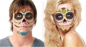 Pick up a free full-face temporary sugar skull tattoo