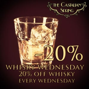 Enjoy 20% off Whiskey Every Wednesday~Come to The Castalian Spring Located inside the Espresso Art Café