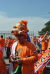 Dutch soccer fans show colorful spirit