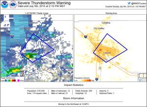 Severe thunderstorm warning issued for Pima County