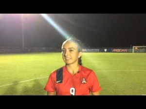 Gabi Stoian after UA soccer win, Sept. 12, 2014